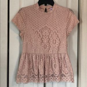 Pink lace peplum shirt size small
